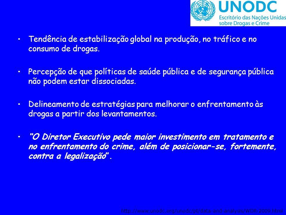 Tendência de estabilização global na produção, no tráfico e no consumo de drogas. Percepção de que políticas de saúde pública e de segurança pública n