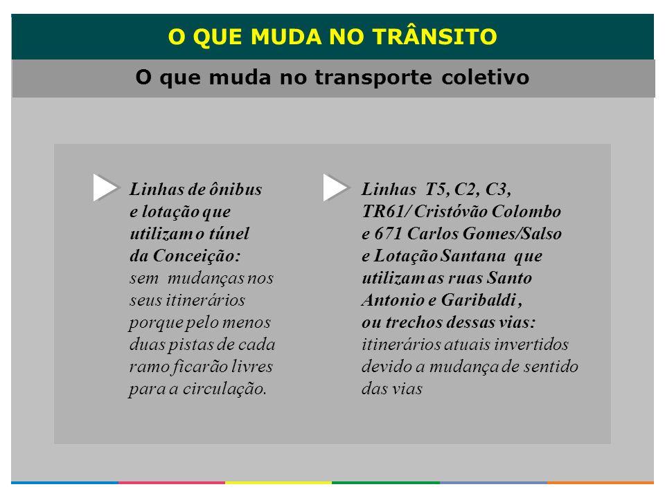 O QUE MUDA NO TRÂNSITO Linhas de ônibus e lotação que utilizam o túnel da Conceição: sem mudanças nos seus itinerários porque pelo menos duas pistas d