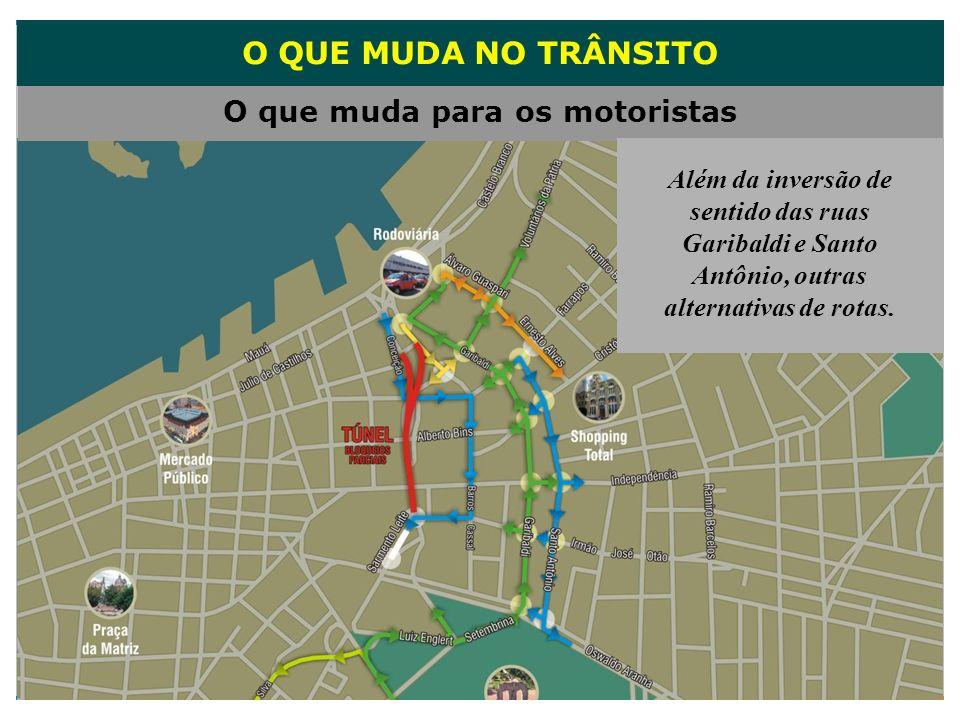 O QUE MUDA NO TRÂNSITO O que muda para os motoristas Além da inversão de sentido das ruas Garibaldi e Santo Antônio, outras alternativas de rotas.
