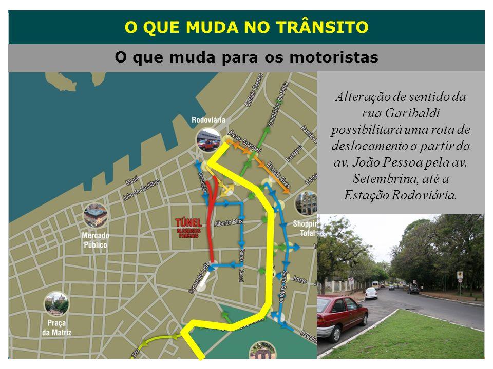 O QUE MUDA NO TRÂNSITO O que muda para os motoristas Alteração de sentido da rua Garibaldi possibilitará uma rota de deslocamento a partir da av. João