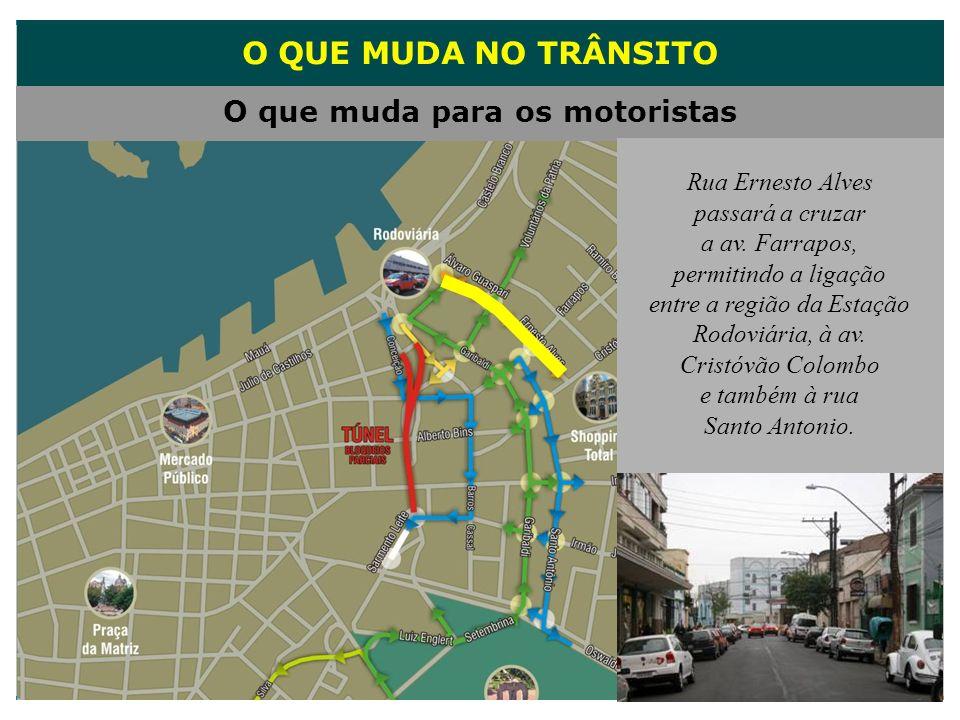 O QUE MUDA NO TRÂNSITO O que muda para os motoristas Rua Ernesto Alves passará a cruzar a av. Farrapos, permitindo a ligação entre a região da Estação