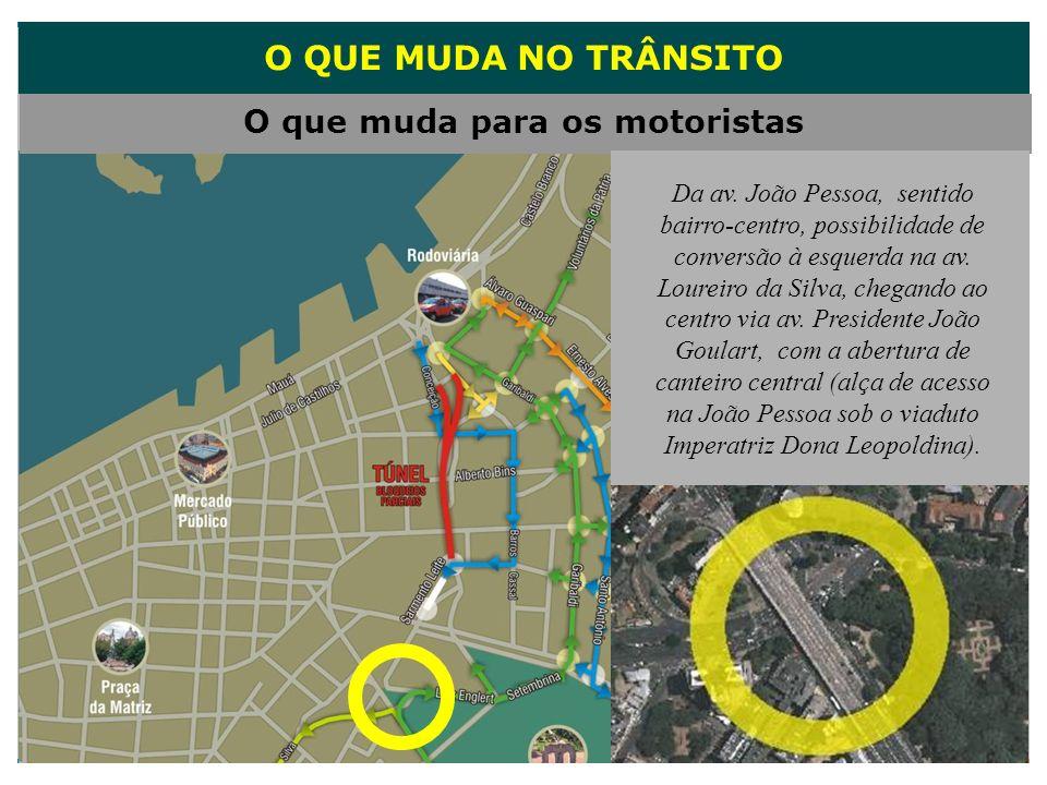O QUE MUDA NO TRÂNSITO O que muda para os motoristas Da av. João Pessoa, sentido bairro-centro, possibilidade de conversão à esquerda na av. Loureiro