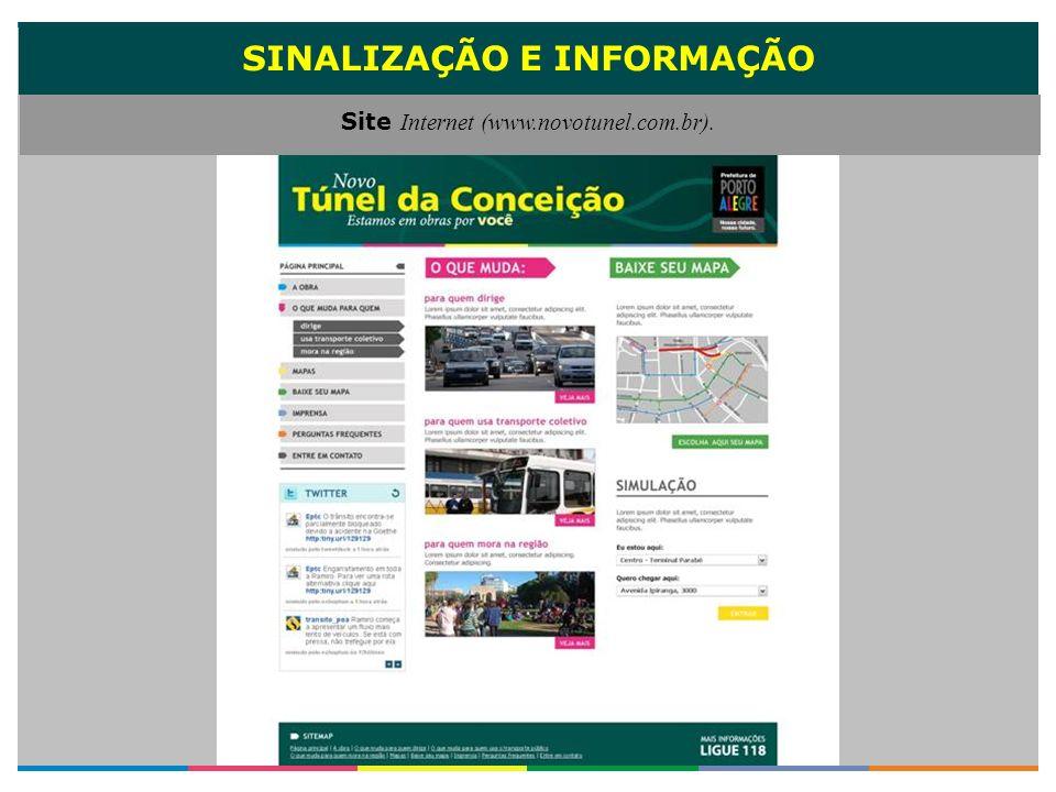 SINALIZAÇÃO E INFORMAÇÃO Site Internet (www.novotunel.com.br).
