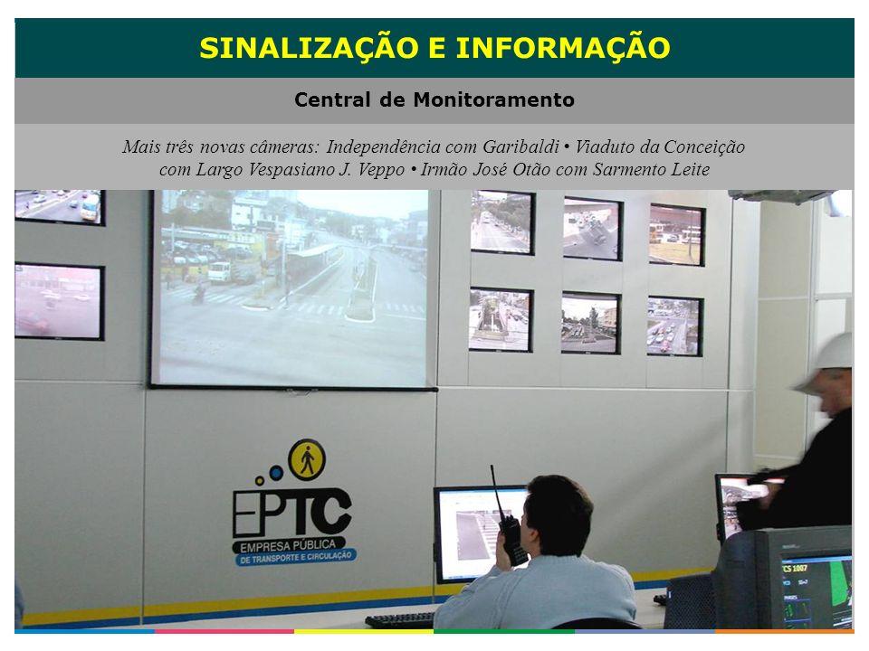 SINALIZAÇÃO E INFORMAÇÃO Central de Monitoramento Mais três novas câmeras: Independência com Garibaldi Viaduto da Conceição com Largo Vespasiano J. Ve