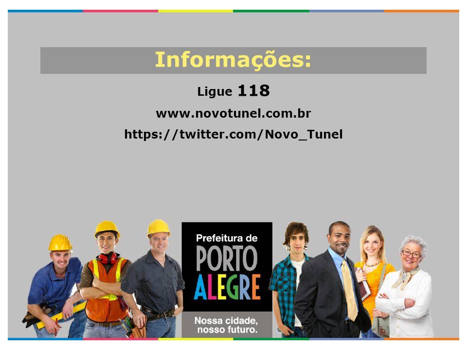 Informações: Ligue 118 www.novotunel.com.br https://twitter.com/Novo_Tunel