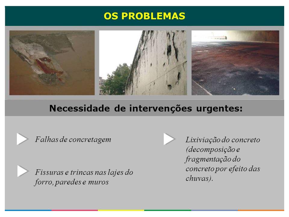 OS PROBLEMAS Fissuras e trincas nas lajes do forro, paredes e muros Falhas de concretagem Lixiviação do concreto (decomposição e fragmentação do concr