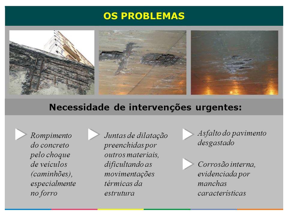 OS PROBLEMAS Asfalto do pavimento desgastado Rompimento do concreto pelo choque de veículos (caminhões), especialmente no forro Juntas de dilatação pr