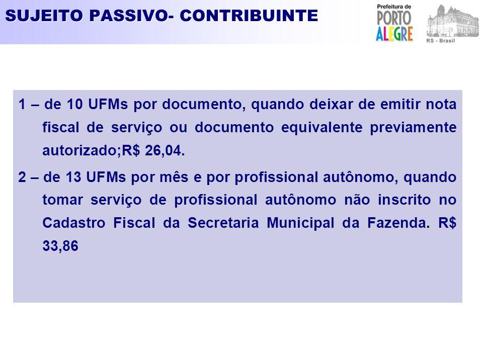 SUJEITO PASSIVO- CONTRIBUINTE 1 – de 10 UFMs por documento, quando deixar de emitir nota fiscal de serviço ou documento equivalente previamente autori