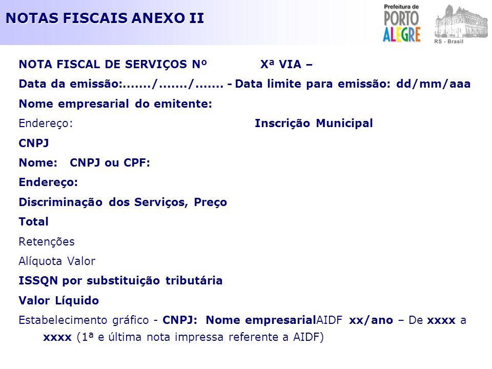 NOTAS FISCAIS ANEXO II NOTA FISCAL DE SERVIÇOS Nº Xª VIA – Data da emissão:......./......./....... - Data limite para emissão: dd/mm/aaa Nome empresar