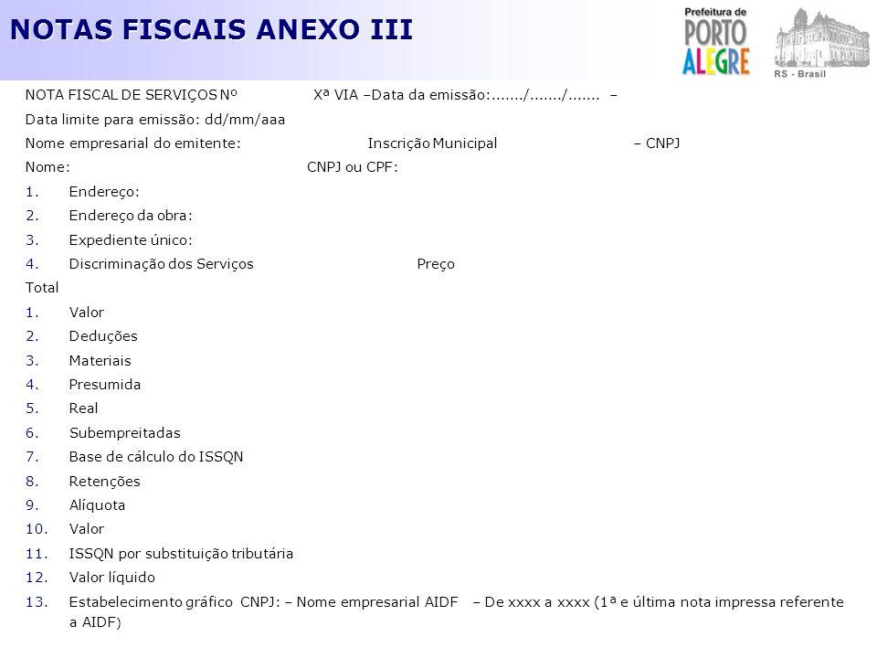NOTAS FISCAIS ANEXO III NOTA FISCAL DE SERVIÇOS Nº Xª VIA –Data da emissão:......./......./....... – Data limite para emissão: dd/mm/aaa Nome empresar