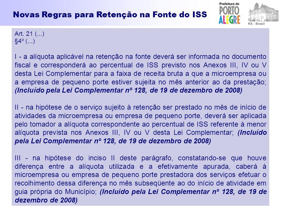 Art. 21 (...) §4º (...) I - a alíquota aplicável na retenção na fonte deverá ser informada no documento fiscal e corresponderá ao percentual de ISS pr