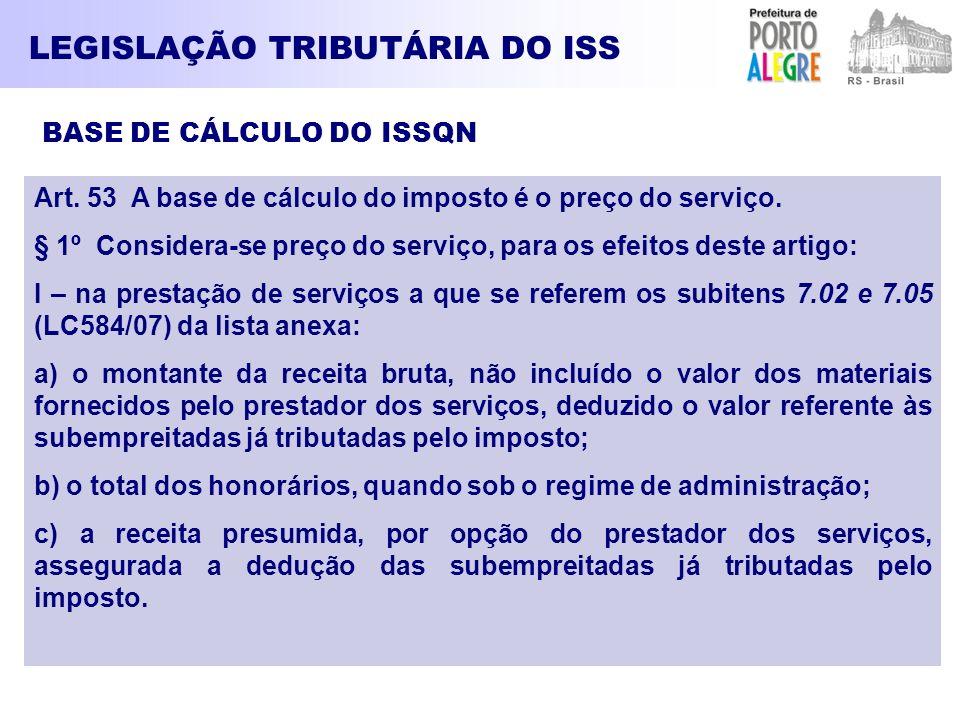 LEGISLAÇÃO TRIBUTÁRIA DO ISS BASE DE CÁLCULO DO ISSQN Art. 53 A base de cálculo do imposto é o preço do serviço. § 1º Considera-se preço do serviço, p