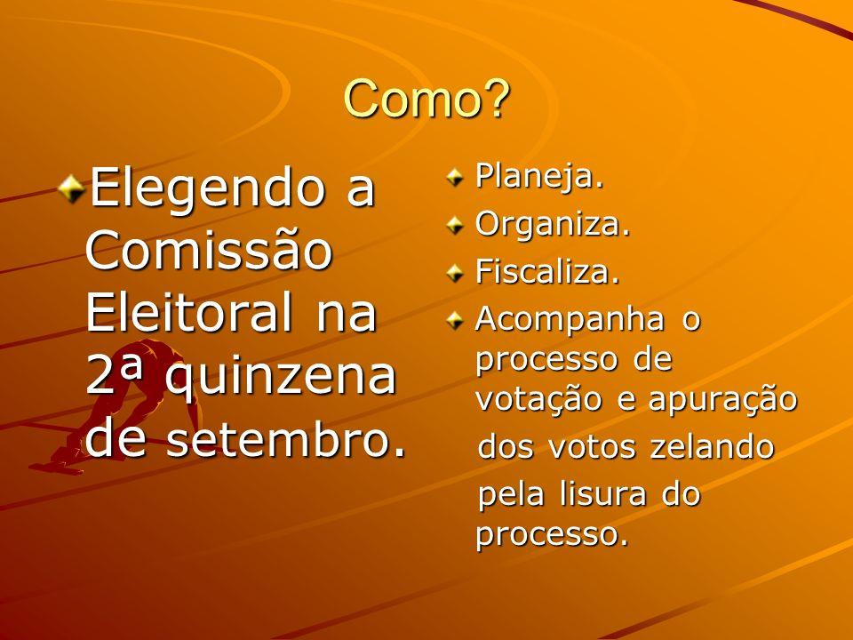 Como? Elegendo a Comissão Eleitoral na 2ª quinzena de setembro. Planeja. Organiza. Fiscaliza. Acompanha o processo de votação e apuração dos votos zel