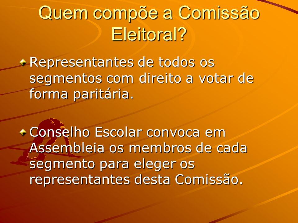 Quem compõe a Comissão Eleitoral? Representantes de todos os segmentos com direito a votar de forma paritária. Conselho Escolar convoca em Assembleia