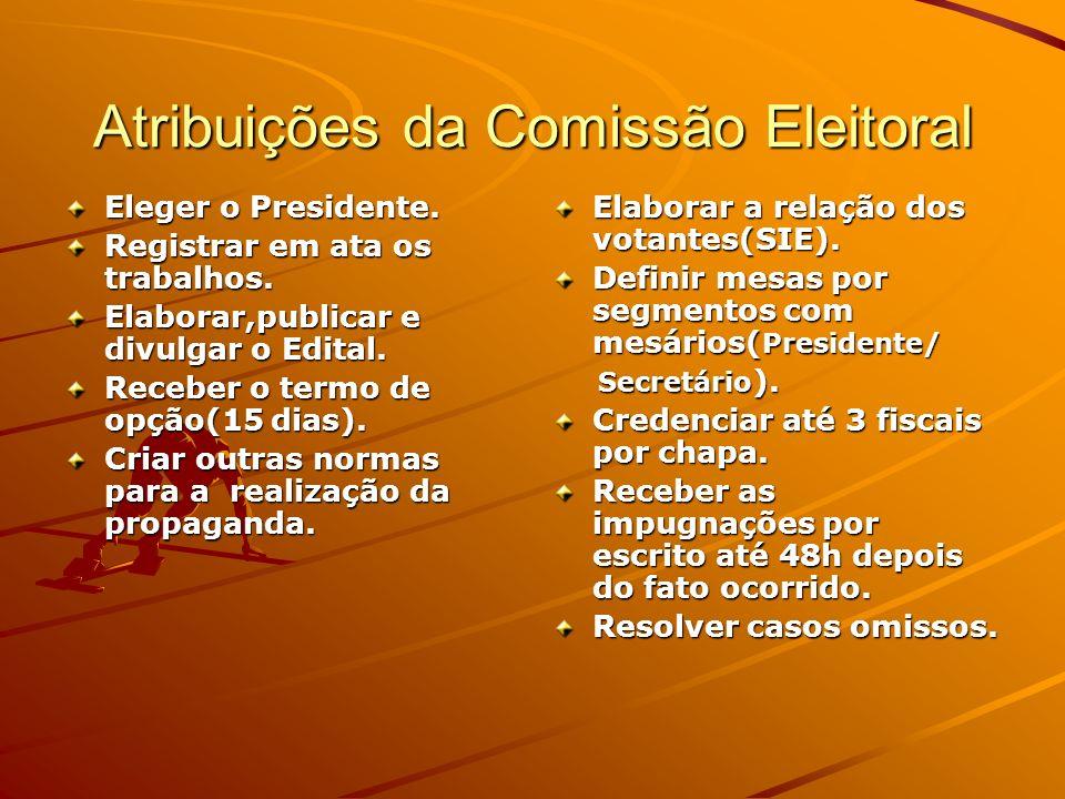 Atribuições da Comissão Eleitoral Eleger o Presidente. Registrar em ata os trabalhos. Elaborar,publicar e divulgar o Edital. Receber o termo de opção(