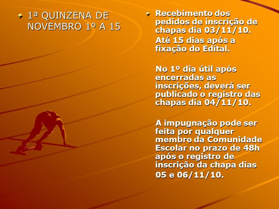 1ª QUINZENA DE NOVEMBRO 1º A 15 Recebimento dos pedidos de inscrição de chapas dia 03/11/10. Até 15 dias após a fixação do Edital. Até 15 dias após a