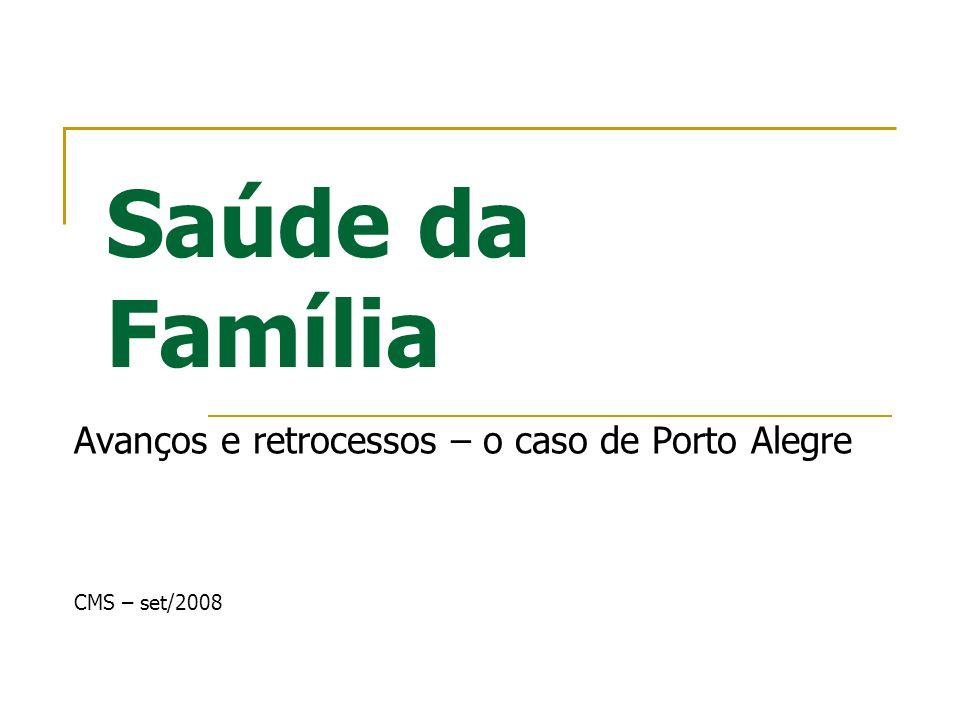 Saúde da Família Avanços e retrocessos – o caso de Porto Alegre CMS – set/2008