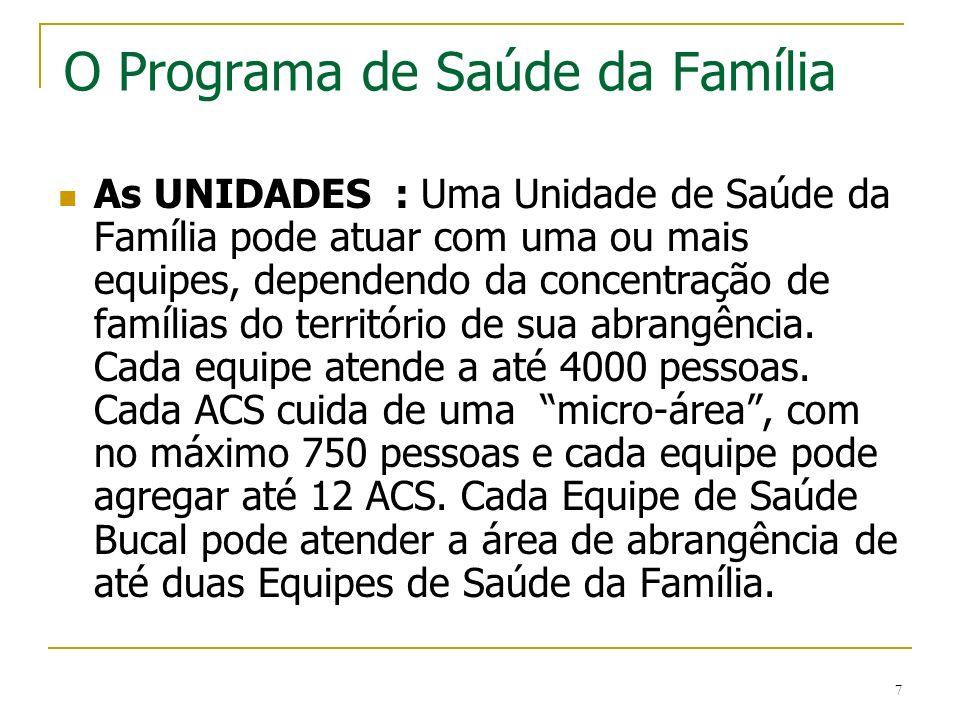 7 O Programa de Saúde da Família As UNIDADES : Uma Unidade de Saúde da Família pode atuar com uma ou mais equipes, dependendo da concentração de famíl