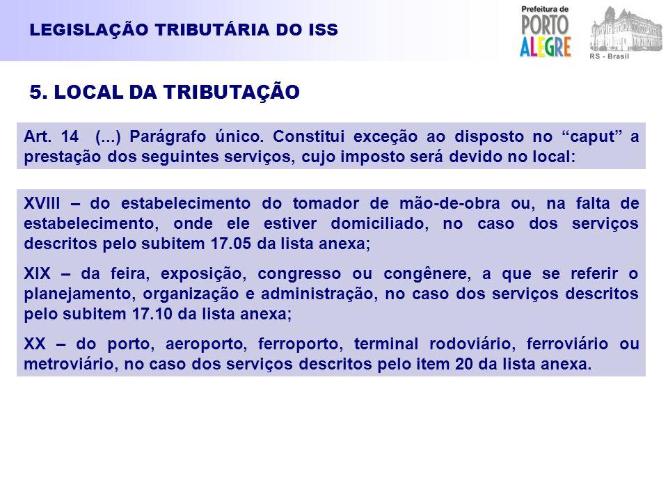LEGISLAÇÃO TRIBUTÁRIA DO ISS 5. LOCAL DA TRIBUTAÇÃO Art. 14 (...) Parágrafo único. Constitui exceção ao disposto no caput a prestação dos seguintes se