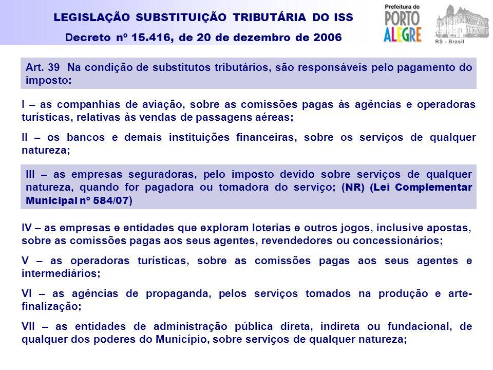LEGISLAÇÃO SUBSTITUIÇÃO TRIBUTÁRIA DO ISS D ecreto nº 15.416, de 20 de dezembro de 2006 I – as companhias de aviação, sobre as comissões pagas às agên
