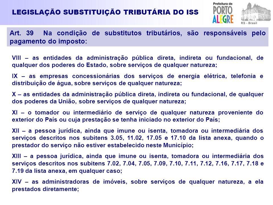 LEGISLAÇÃO SUBSTITUIÇÃO TRIBUTÁRIA DO ISS VIII – as entidades da administração pública direta, indireta ou fundacional, de qualquer dos poderes do Est