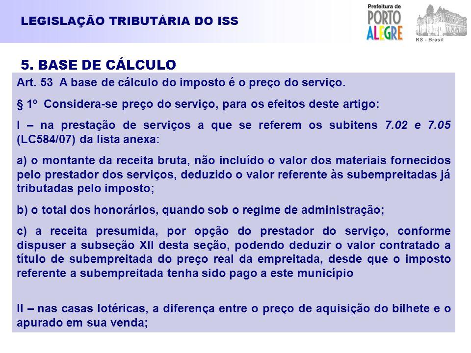 LEGISLAÇÃO TRIBUTÁRIA DO ISS 5. BASE DE CÁLCULO Art. 53 A base de cálculo do imposto é o preço do serviço. § 1º Considera-se preço do serviço, para os