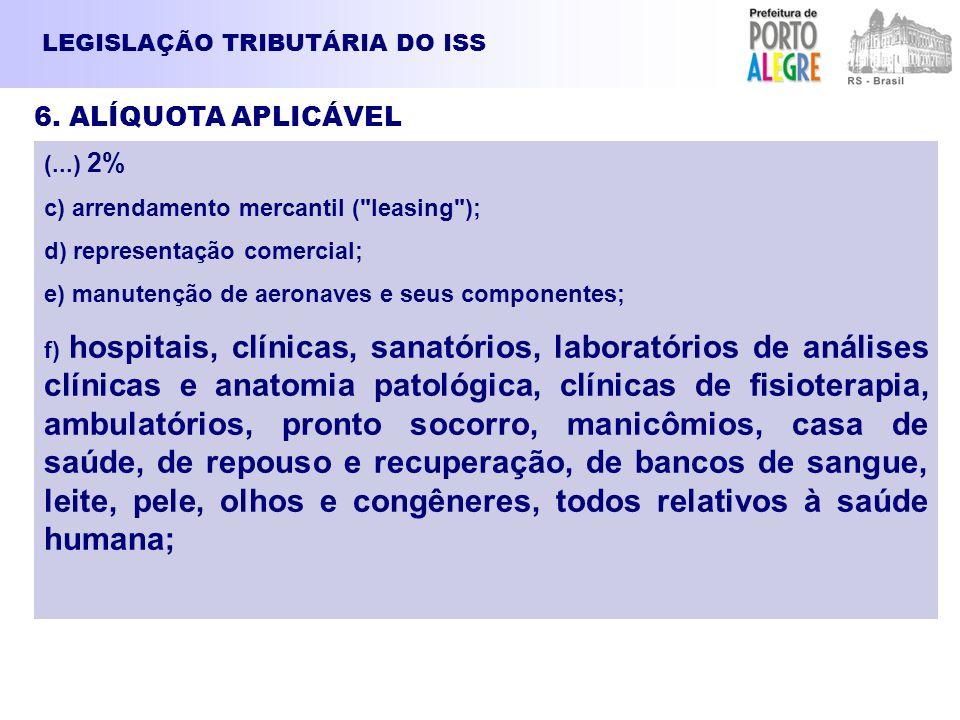 LEGISLAÇÃO TRIBUTÁRIA DO ISS 6. ALÍQUOTA APLICÁVEL (...) 2% c) arrendamento mercantil (