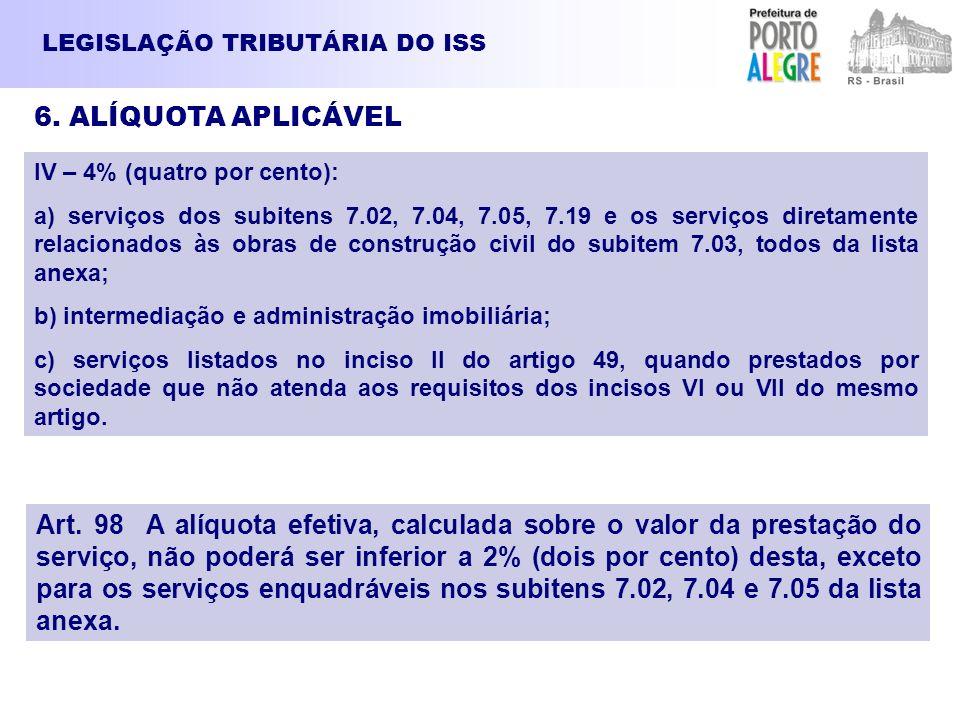 LEGISLAÇÃO TRIBUTÁRIA DO ISS 6. ALÍQUOTA APLICÁVEL IV – 4% (quatro por cento): a) serviços dos subitens 7.02, 7.04, 7.05, 7.19 e os serviços diretamen