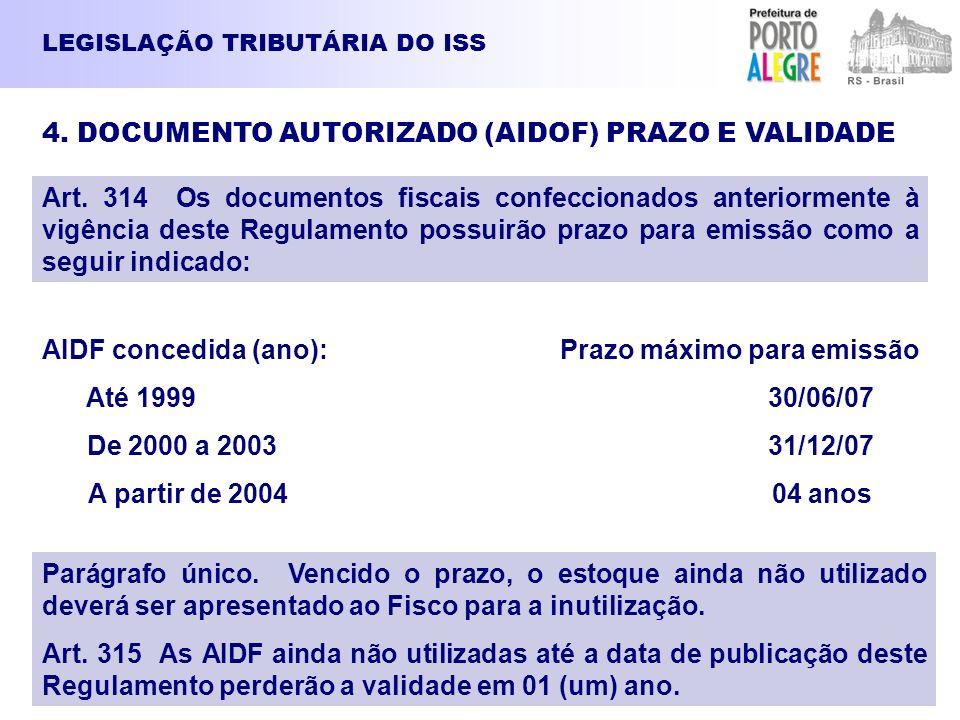 LEGISLAÇÃO TRIBUTÁRIA DO ISS 4. DOCUMENTO AUTORIZADO (AIDOF) PRAZO E VALIDADE Art. 314 Os documentos fiscais confeccionados anteriormente à vigência d