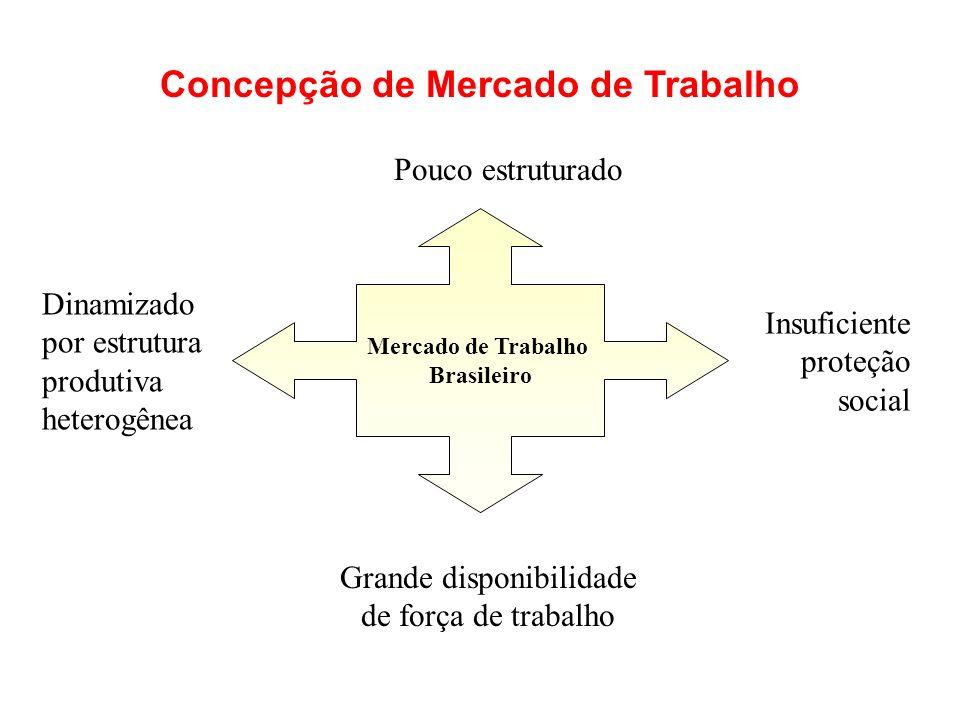 Mercado de Trabalho Brasileiro Dinamizado por estrutura produtiva heterogênea Insuficiente proteção social Grande disponibilidade de força de trabalho