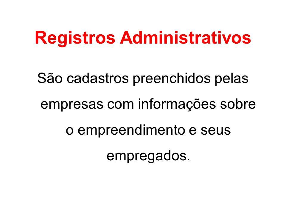 Registros Administrativos São cadastros preenchidos pelas empresas com informações sobre o empreendimento e seus empregados.