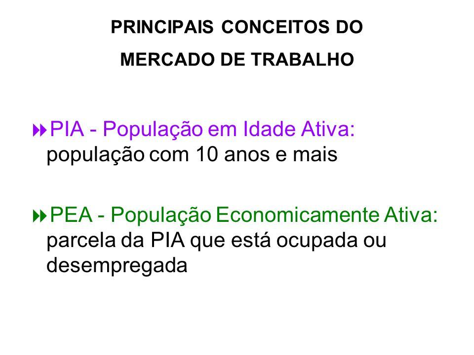 PRINCIPAIS CONCEITOS DO MERCADO DE TRABALHO PIA - População em Idade Ativa: população com 10 anos e mais PEA - População Economicamente Ativa: parcela