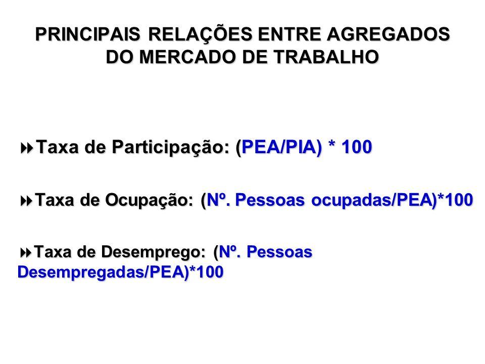 PRINCIPAIS RELAÇÕES ENTRE AGREGADOS DO MERCADO DE TRABALHO Taxa de Participação: (PEA/PIA) * 100 Taxa de Participação: (PEA/PIA) * 100 Taxa de Ocupaçã