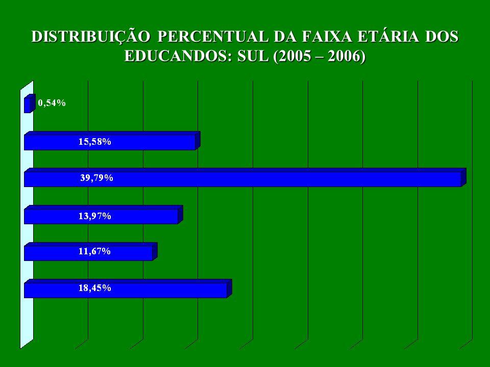 DISTRIBUIÇÃO PERCENTUAL DA FAIXA ETÁRIA DOS EDUCANDOS: SUL (2005 – 2006)