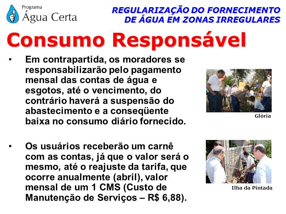 REGULARIZAÇÃO DO FORNECIMENTO DE ÁGUA EM ZONAS IRREGULARES Em contrapartida, os moradores se responsabilizarão pelo pagamento mensal das contas de águ
