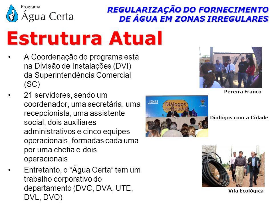 REGULARIZAÇÃO DO FORNECIMENTO DE ÁGUA EM ZONAS IRREGULARES A Coordenação do programa está na Divisão de Instalações (DVI) da Superintendência Comercia