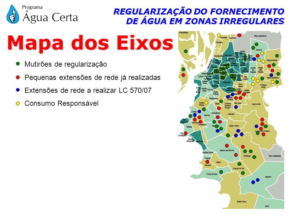 REGULARIZAÇÃO DO FORNECIMENTO DE ÁGUA EM ZONAS IRREGULARES Mapa dos Eixos Mutirões de regularização Pequenas extensões de rede já realizadas Extensões