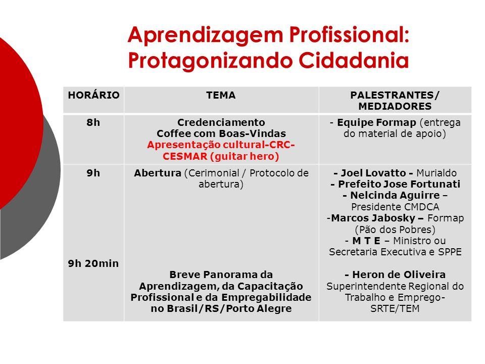 Aprendizagem Profissional: Protagonizando Cidadania HORÁRIOTEMAPALESTRANTES/ MEDIADORES 8hCredenciamento Coffee com Boas-Vindas Apresentação cultural-CRC- CESMAR (guitar hero) - Equipe Formap (entrega do material de apoio) 9h 9h 20min Abertura (Cerimonial / Protocolo de abertura) Breve Panorama da Aprendizagem, da Capacitação Profissional e da Empregabilidade no Brasil/RS/Porto Alegre - Joel Lovatto - Murialdo - Prefeito Jose Fortunati - Nelcinda Aguirre – Presidente CMDCA -Marcos Jabosky – Formap (Pão dos Pobres) - M T E – Ministro ou Secretaria Executiva e SPPE - Heron de Oliveira Superintendente Regional do Trabalho e Emprego- SRTE/TEM