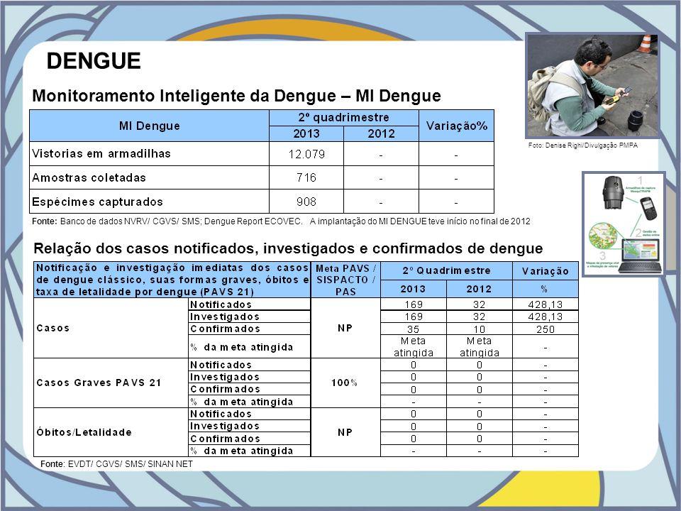DENGUE Fonte: Banco de dados NVRV/ CGVS/ SMS; Dengue Report ECOVEC. A implantação do MI DENGUE teve início no final de 2012 Monitoramento Inteligente