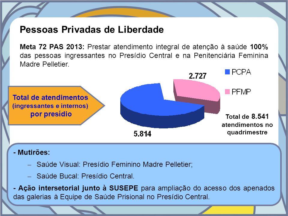 Pessoas Privadas de Liberdade Meta 72 PAS 2013: Prestar atendimento integral de atenção à saúde 100% das pessoas ingressantes no Presídio Central e na