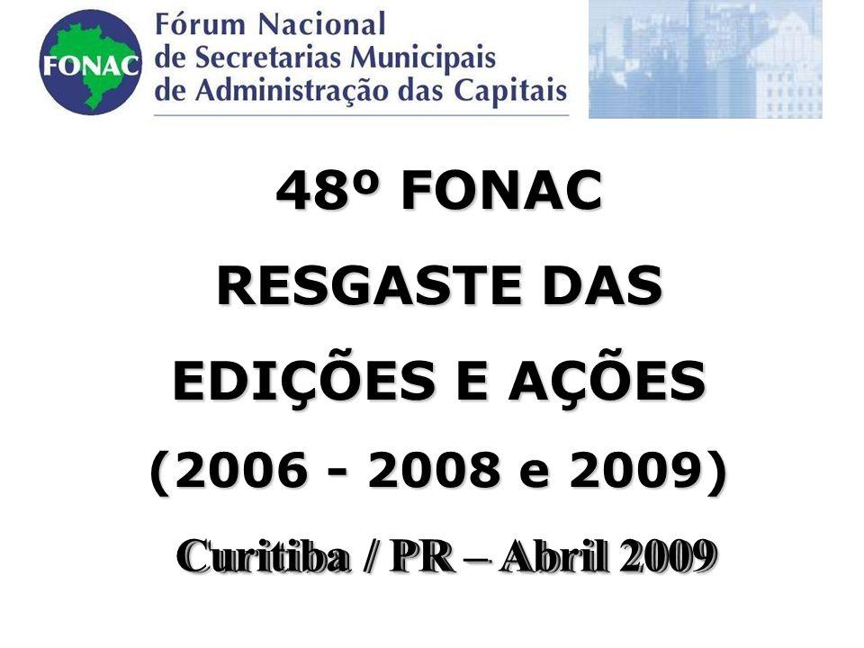 Curitiba / PR – Abril 2009 48º FONAC RESGASTE DAS EDIÇÕES E AÇÕES (2006 - 2008 e 2009) Curitiba / PR – Abril 2009