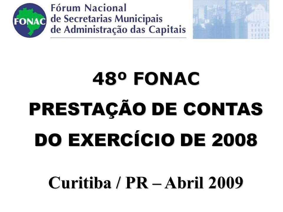 .48º FONAC PRESTAÇÃO DE CONTAS DO EXERCÍCIO DE 2008 Curitiba / PR – Abril 2009