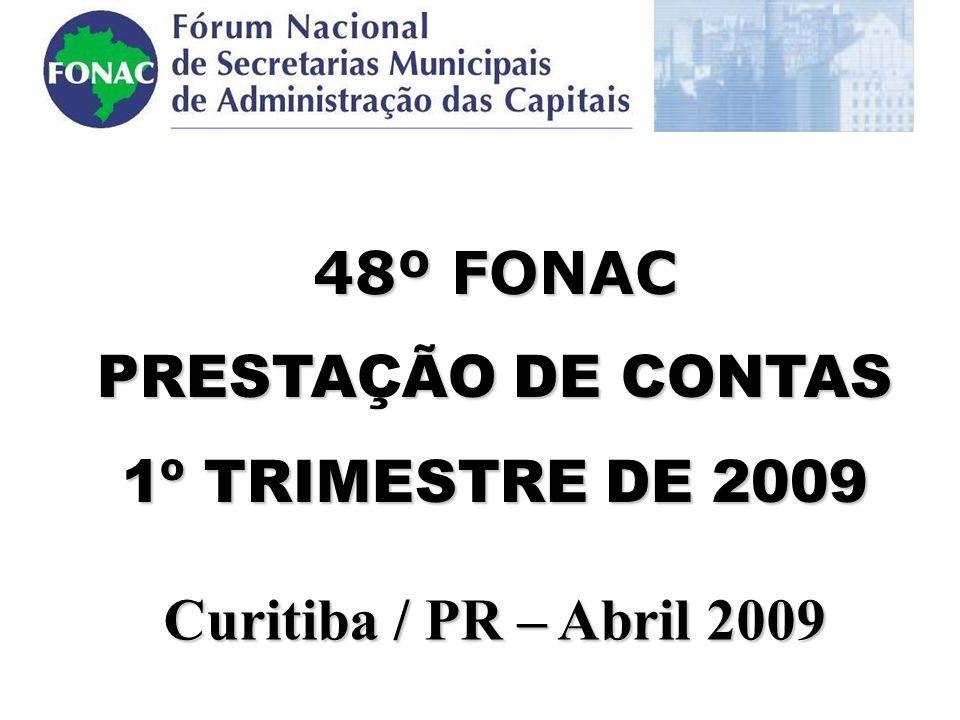 .48º FONAC PRESTAÇÃO DE CONTAS 1º TRIMESTRE DE 2009 Curitiba / PR – Abril 2009