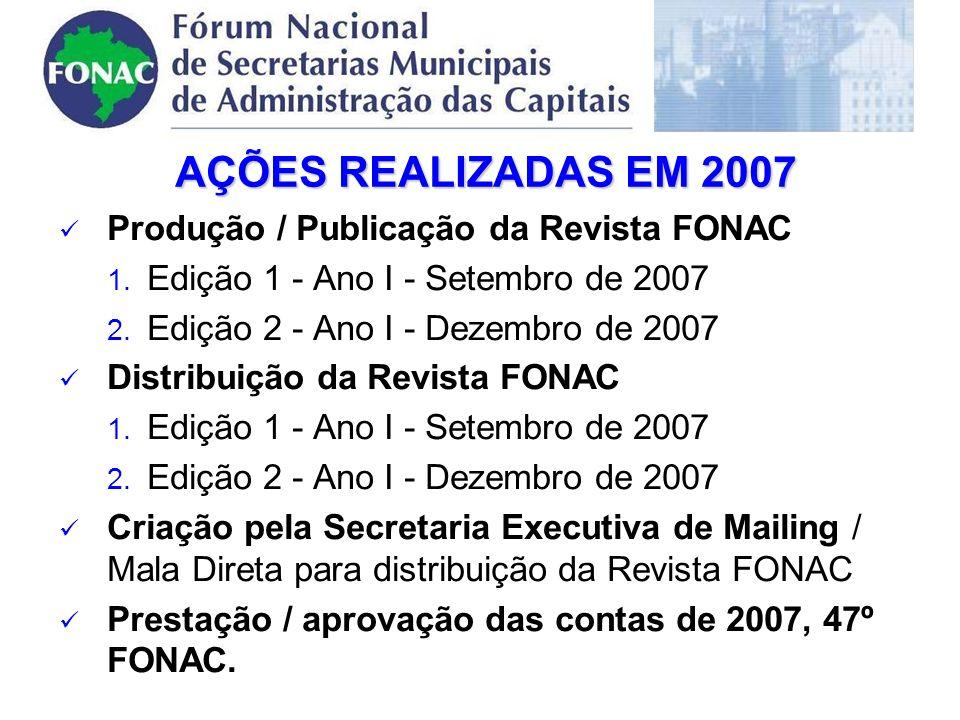 Produção / Publicação da Revista FONAC 1.Edição 1 - Ano I - Setembro de 2007 2.