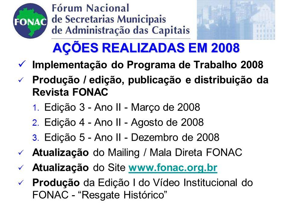 AÇÕES REALIZADAS EM 2008 Implementação do Programa de Trabalho 2008 Produção / edição, publicação e distribuição da Revista FONAC 1.