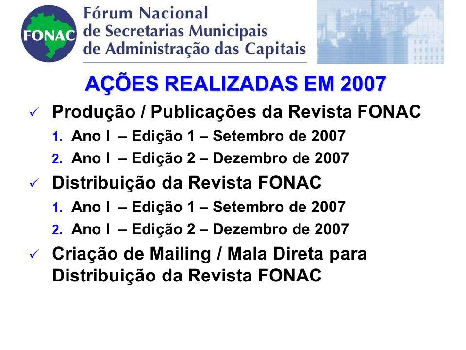 Produção / Publicações da Revista FONAC 1. Ano I – Edição 1 – Setembro de 2007 2.