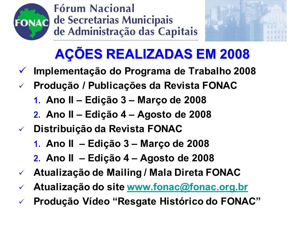 AÇÕES REALIZADAS EM 2008 Implementação do Programa de Trabalho 2008 Produção / Publicações da Revista FONAC 1.