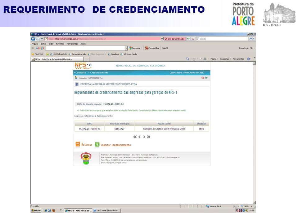 REQUERIMENTO DE CREDENCIAMENTO