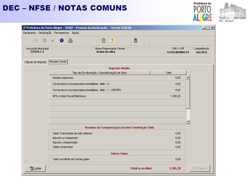 DEC – NFSE / NOTAS COMUNS