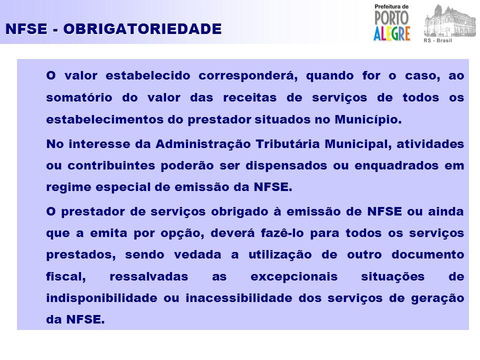 NFSE - OBRIGATORIEDADE O valor estabelecido corresponderá, quando for o caso, ao somatório do valor das receitas de serviços de todos os estabelecimentos do prestador situados no Município.
